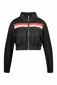 Womens Plus Stripe Shell Tracksuit Top - black - 18, Black