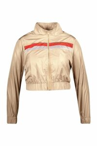 Womens Plus Stripe Shell Tracksuit Top - beige - 18, Beige