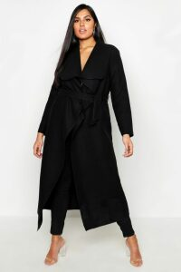Womens Plus Maxi Length Wool Look Wrap Coat - Black - 24, Black