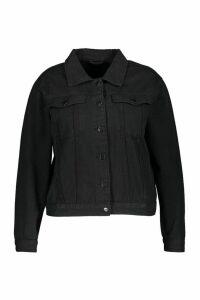 Womens Plus Slim Fit Western Denim Jacket - Black - 20, Black