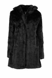 Womens Boutique Rever Collar Faux Fur Coat - black - 16, Black