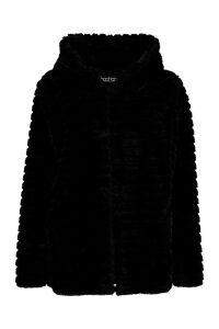 Womens Hooded Faux Fur Coat - black - 8, Black