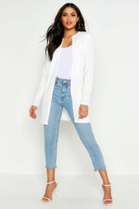 Womens Tall Collarless Duster Jacket - White - M/L, White