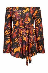 Womens Tall Palm Print Off The Shoulder Playsuit - orange - 16, Orange