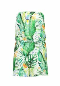 Womens Tropical Parrot Jersey Beach Playsuit - green - XS, Green