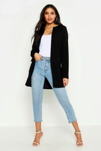 Womens Tall Collarless Duster Jacket - Black - S/M, Black