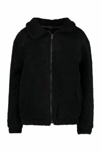 Womens Teddy Faux Fur Bomber Jacket - Black - 10, Black