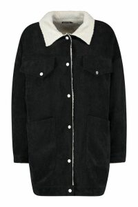 Womens Borg Lined Oversized Cord Trucker Jacket - Black - 10, Black