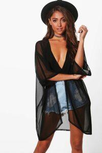Womens Mesh Kimono - Black - M/L, Black