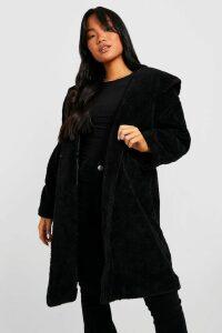 Womens Petite Oversized Hooded Teddy Coat - black - 10, Black
