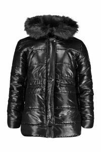 Womens Cire Padded Faux Fur Hooded Parka - black - L, Black