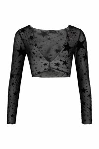 Womens Flock Mesh Star Print Crop Top - black - 10, Black