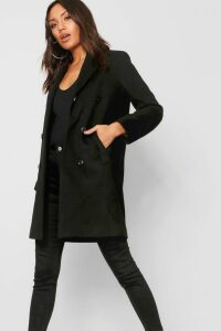 Womens Double Breasted Coat - black - 12, Black