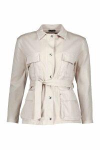 Womens Double Pocket Belted Utility Jacket - beige - 8, Beige