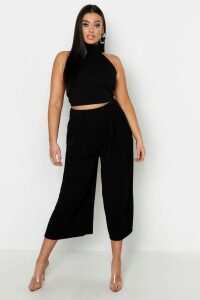 Womens Plus High Neck Crop & Long Culotte Co-Ord Set - Black - 20, Black