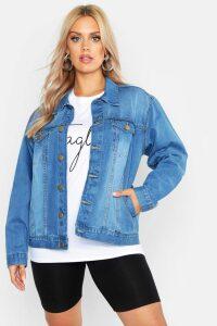Womens Plus Oversized Vintage Look Denim Jacket - grey - 20, Grey