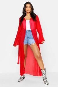 Womens Plus Flute Sleeve Belted Maxi Kimono - Red - 20, Red