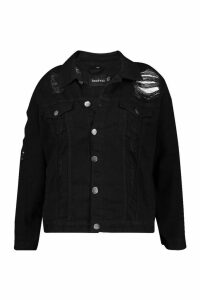 Womens Plus Distressed Oversized Denim Jacket - black - 24, Black