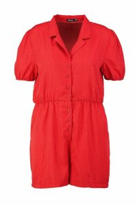 Womens Plus Polka Dot Revere Collar Playsuit - red - 22, Red