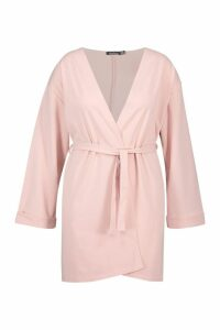 Womens Plus Oversized Belted Kimono - pink - 22, Pink