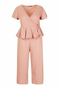 Womens Plus Rib Wrap Cap Sleeve Top & Culotte Co-Ord - pink - 18, Pink