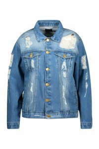 Womens Plus Distressed Oversized Denim Jacket - grey - 20, Grey