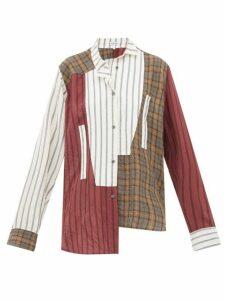 Loewe - Asymmetric Patchwork Poplin Shirt - Womens - Brown Multi