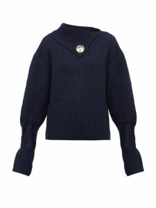 Jw Anderson - Draped Neckline Ribbed Wool Blend Sweater - Womens - Navy