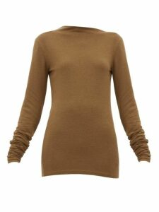 Lemaire - Asymmetric-neck Stretch-jersey Sweater - Womens - Dark Brown
