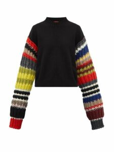 Colville - Rib-knitted Sleeve Wool-blend Sweater. - Womens - Black Multi