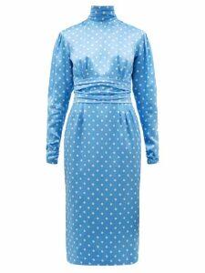 Alessandra Rich - High-neck Polka-dot Print Silk-satin Dress - Womens - Blue White