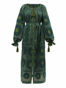 Vita Kin - Siam Tassel Drawstring Sleeve Linen Dress - Womens - Dark Green