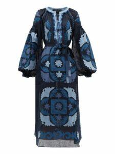 Vita Kin - Scarab Balloon Sleeve Embroidered Linen Dress - Womens - Navy Multi