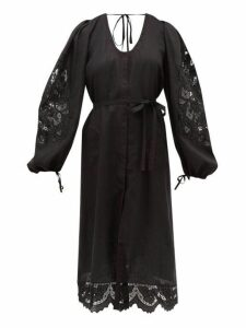 Vita Kin - Colombe D'or Guipure Lace And Linen Dress - Womens - Black