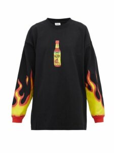 Vetements - Hot Sauce-print Cotton-jersey Sweatshirt - Womens - Black Multi