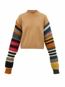 Colville - Striped-sleeve Wool-blend Sweater - Womens - Brown Multi