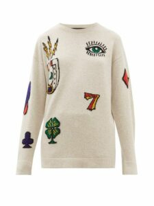 The Elder Statesman - Rambler Symbol-jacquard Cashmere Sweater - Womens - Grey