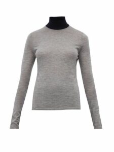 Gabriela Hearst - Bi-costa Contrast-neck Cashmere-blend Sweater - Womens - Grey Multi