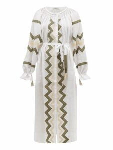 Vita Kin - Zanzibar Embroidered Linen Dress - Womens - White Multi