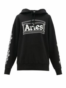 Aries - Logo Print Cotton Hooded Sweatshirt - Womens - Black