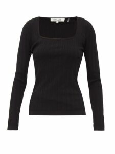 Diane Von Furstenberg - Fera Scoop Neck Pointelle Sweater - Womens - Black