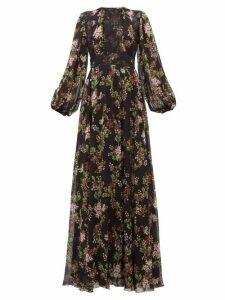 Giambattista Valli - Lace-panelled Floral-print Silk-georgette Dress - Womens - Black Multi