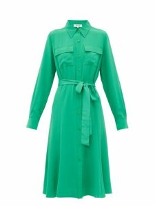 Diane Von Furstenberg - Antonette Silk Crepe Shirtdress - Womens - Green