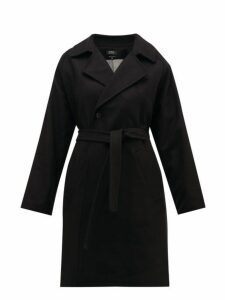 A.p.c. - Bakerstreet Belted Wool Blend Trench Coat - Womens - Black