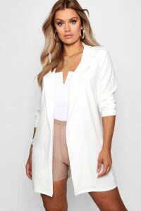 Womens Plus Oversized Tie Blazer - White - 28, White