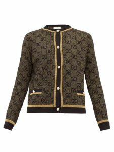 Gucci - Lamé Gg-jacquard Wool-blend Cardigan - Womens - Black Gold