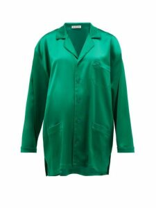 Balenciaga - Bb Logo-embroidered Satin Shirt - Womens - Green