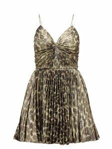 Saint Laurent - Pleated Leopard-print Silk-blend Lamé Mini Dress - Womens - Leopard