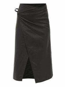 Vetements - Logo-embossed Leather Midi Wrap Skirt - Womens - Black