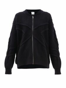 Barrie - Cross-jacquard Cashmere Zip-through Sweater - Womens - Dark Navy